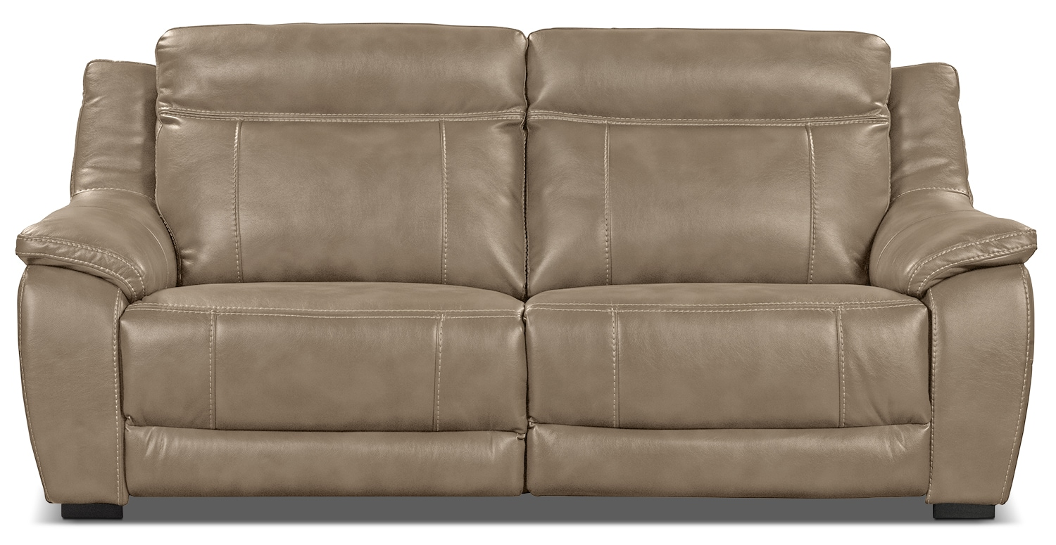 novo leather look fabric power reclining sofa taupe the brick. Black Bedroom Furniture Sets. Home Design Ideas