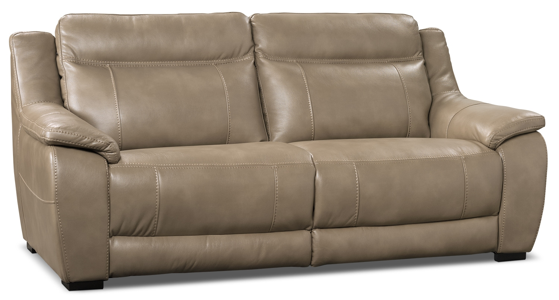 Novo Leather Look Fabric Sofa Taupe The Brick