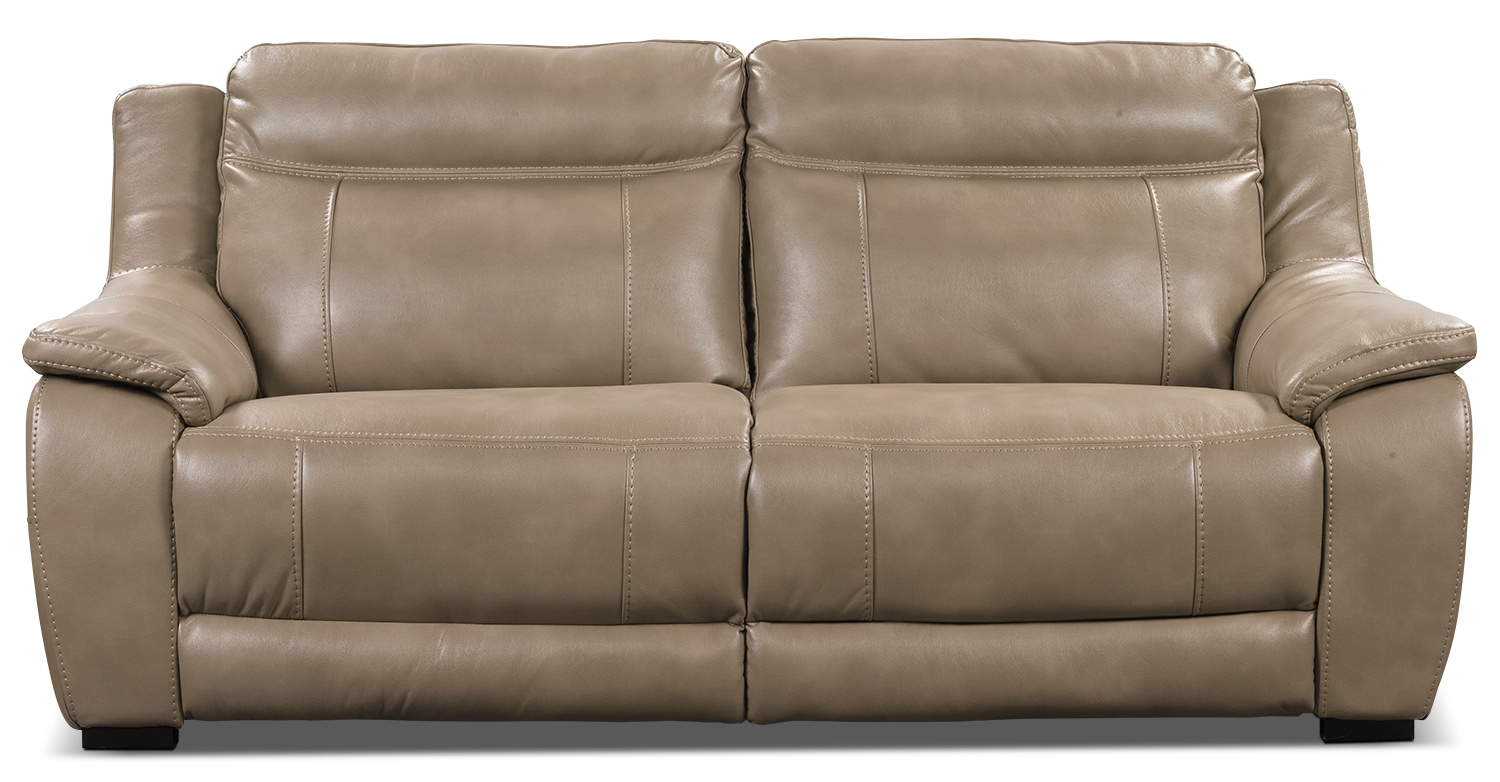novo leather look fabric sofa taupe the brick. Black Bedroom Furniture Sets. Home Design Ideas