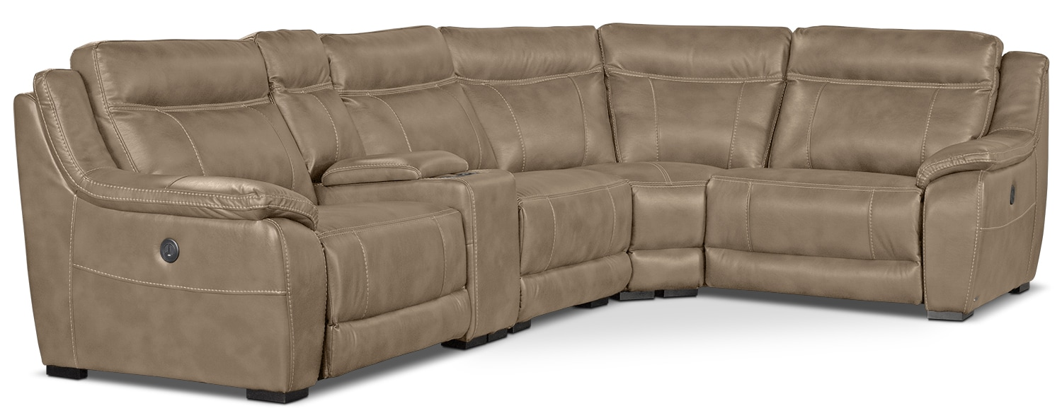 Novo Leather-Look Fabric 5-Piece Power Reclining Sectional – Taupe