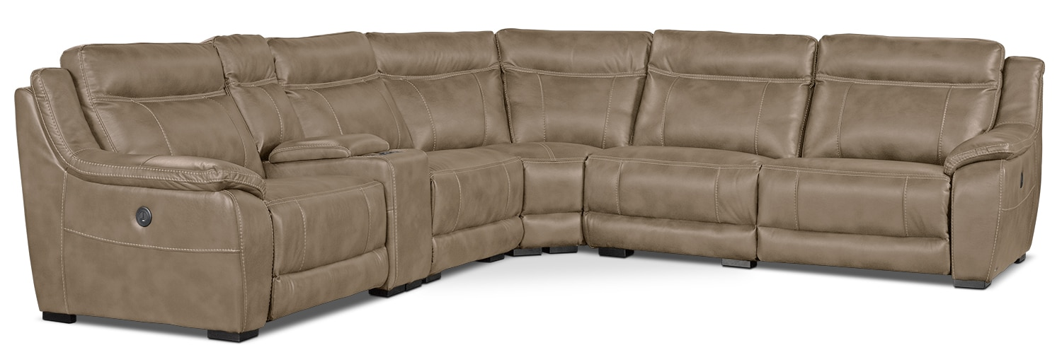 Novo Leather-Look Fabric 6-Piece Power Reclining Sectional – Taupe