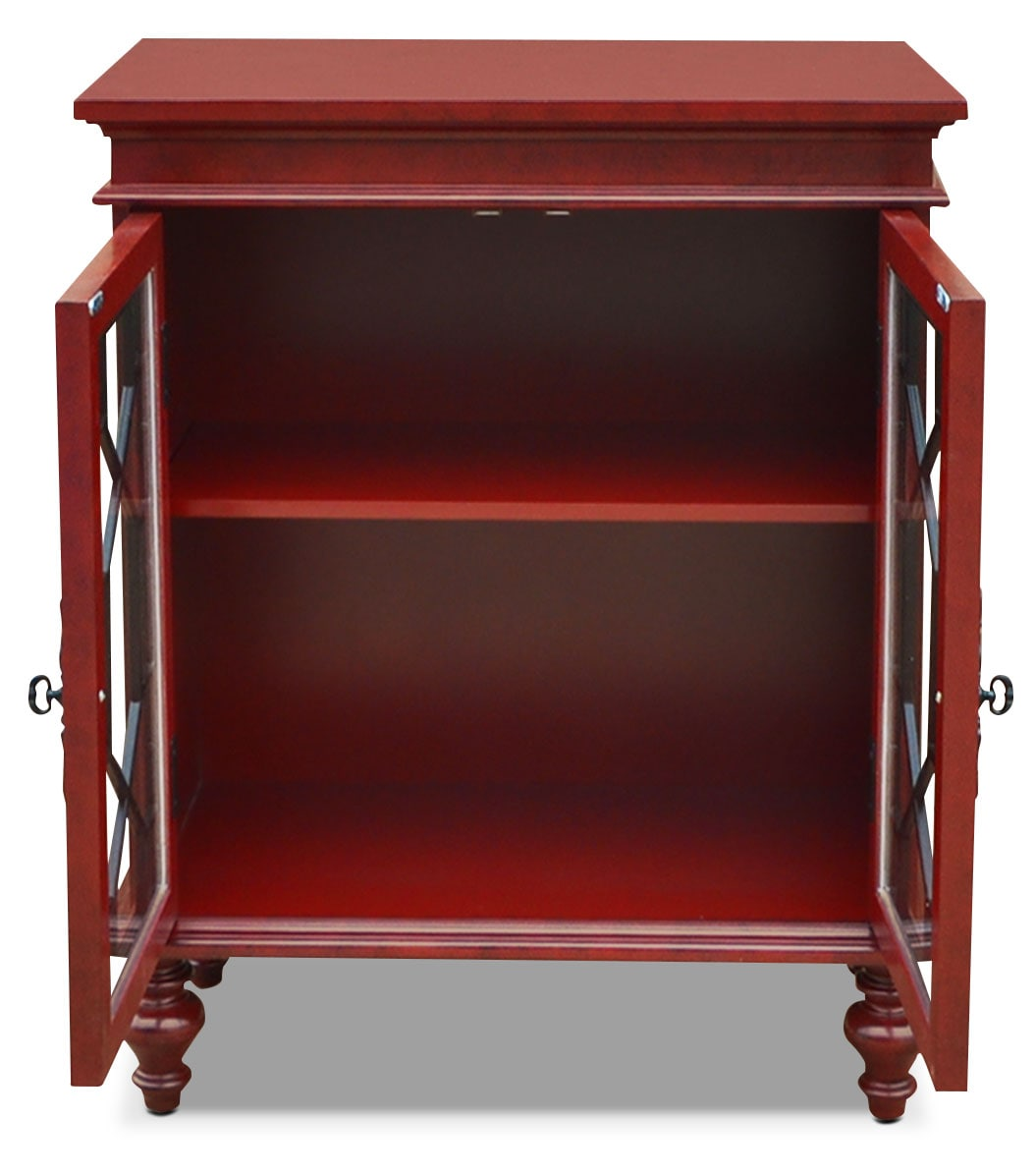 Small Accent Couch: Rigolet Small Accent Cabinet – Red
