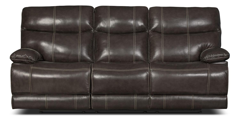Gavin Genuine Leather Reclining Sofa – Grey