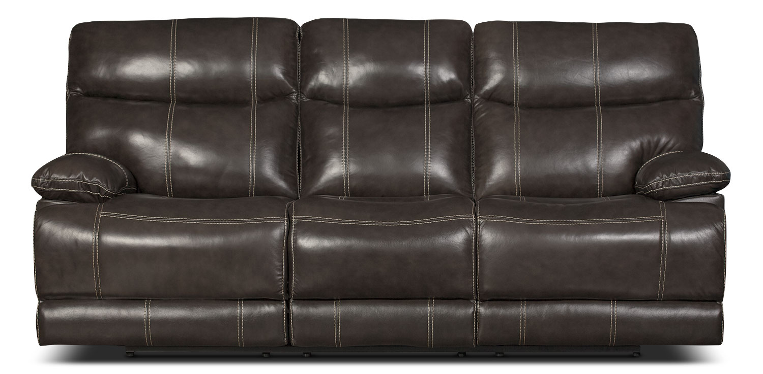 Living Room Furniture - Gavin Genuine Leather Reclining Sofa – Grey