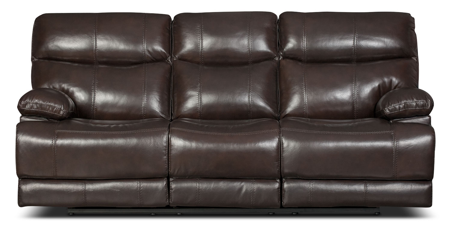 Living Room Furniture - Gavin Genuine Leather Reclining Sofa – Brown