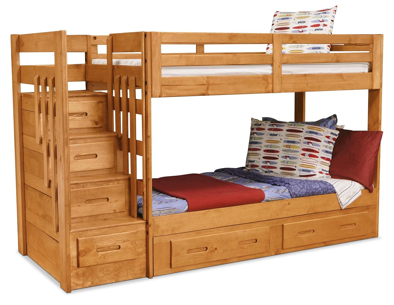 Kids Furniture - Ponderosa Staircase Bunk Bed
