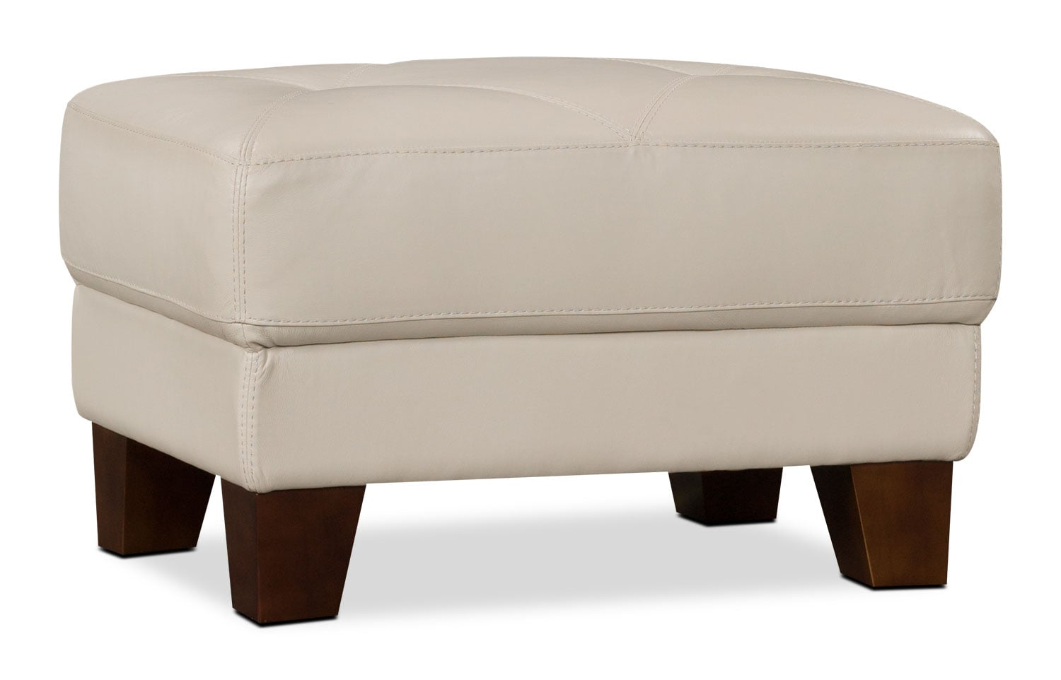 Living Room Furniture - Vita 100% Genuine Leather Ottoman – Smoke