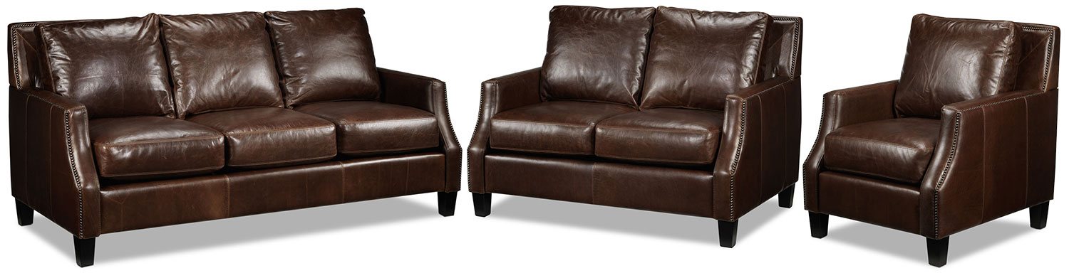 Dallas Sofa, Loveseat and Chair Set - Brown