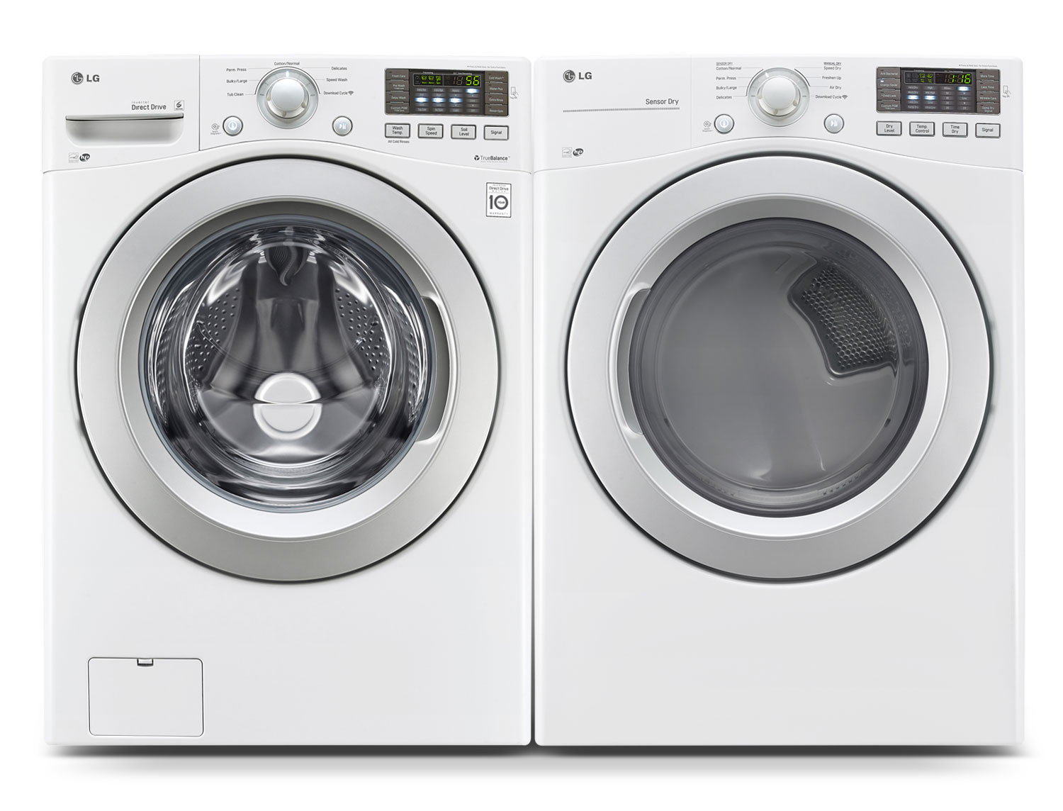 Washers and Dryers - LG 5.2 Cu. Ft. Front-Load Washer and 7.4 Cu. Ft. Electric Dryer – White