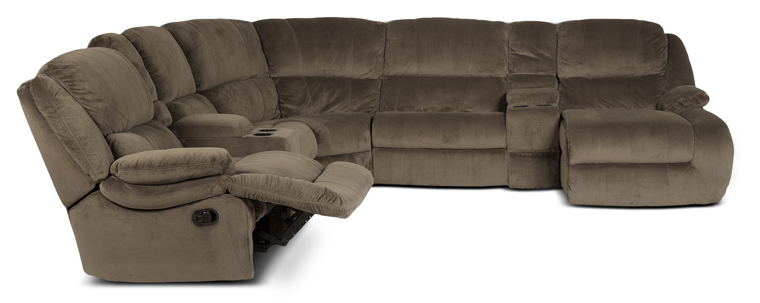 Splendour 6-Piece Right-Facing Reclining Sectional - Chocolate