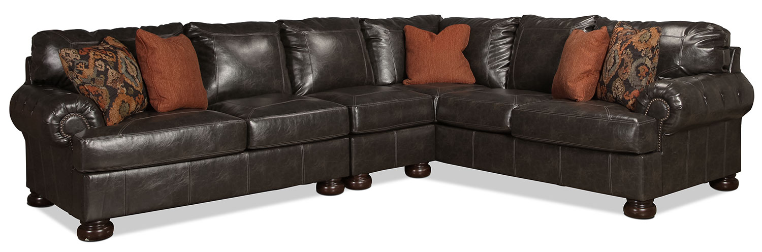 Living Room Furniture - Bayberry 3-Piece Sectional - Antiqued Brown