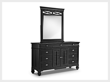Plantation Cove black dresser & mirror