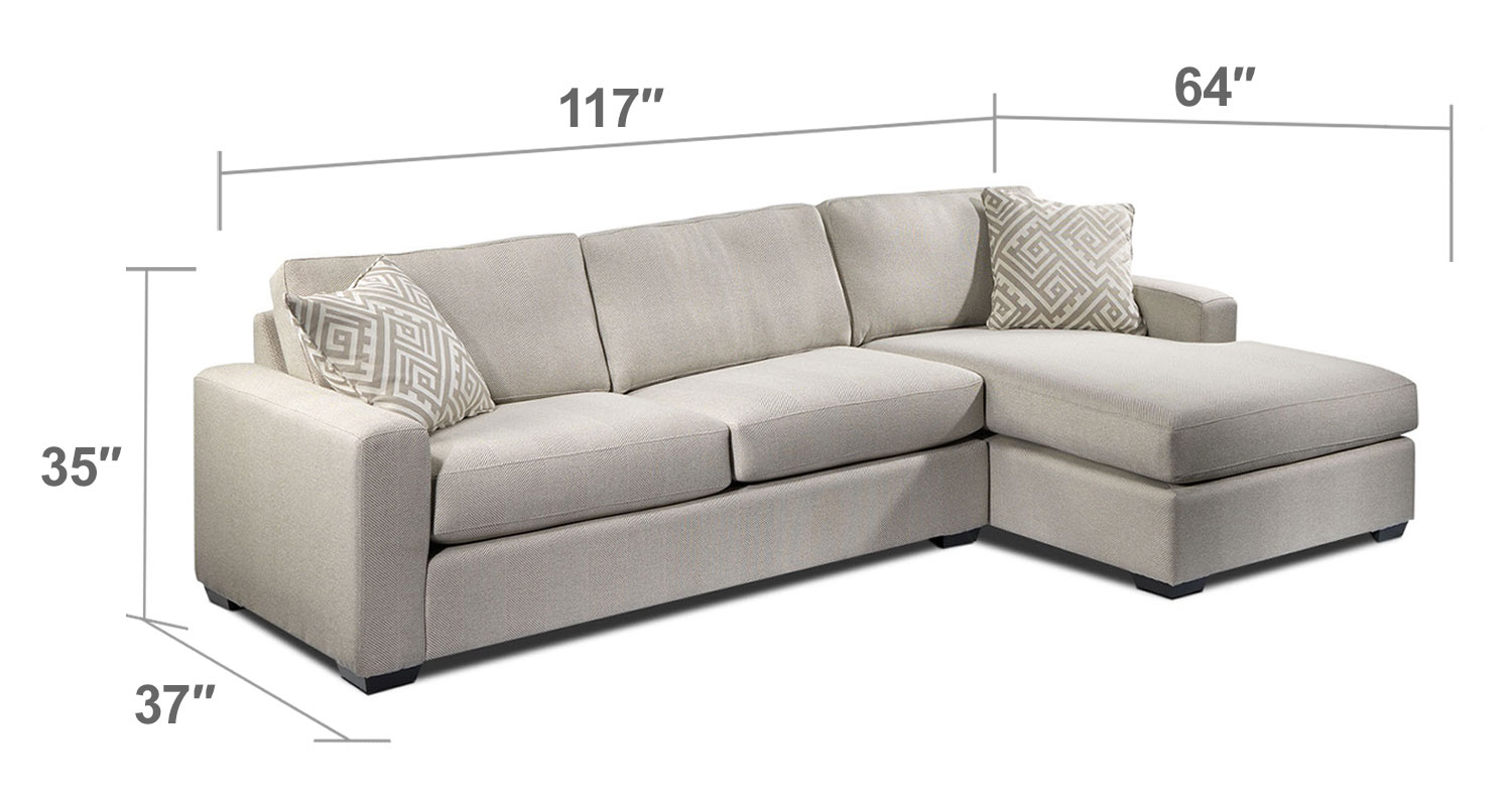 Living Room Furniture - Jennifer 2-Piece Right-Facing Sectional - Pebble