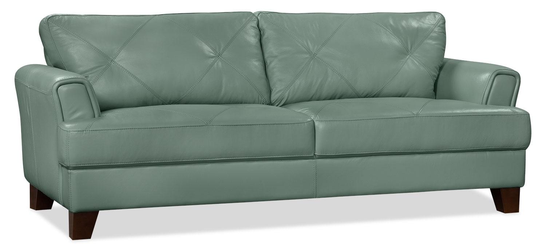 Vita 100 genuine leather sofa sea foam the brick for Sectional sofas 100 leather