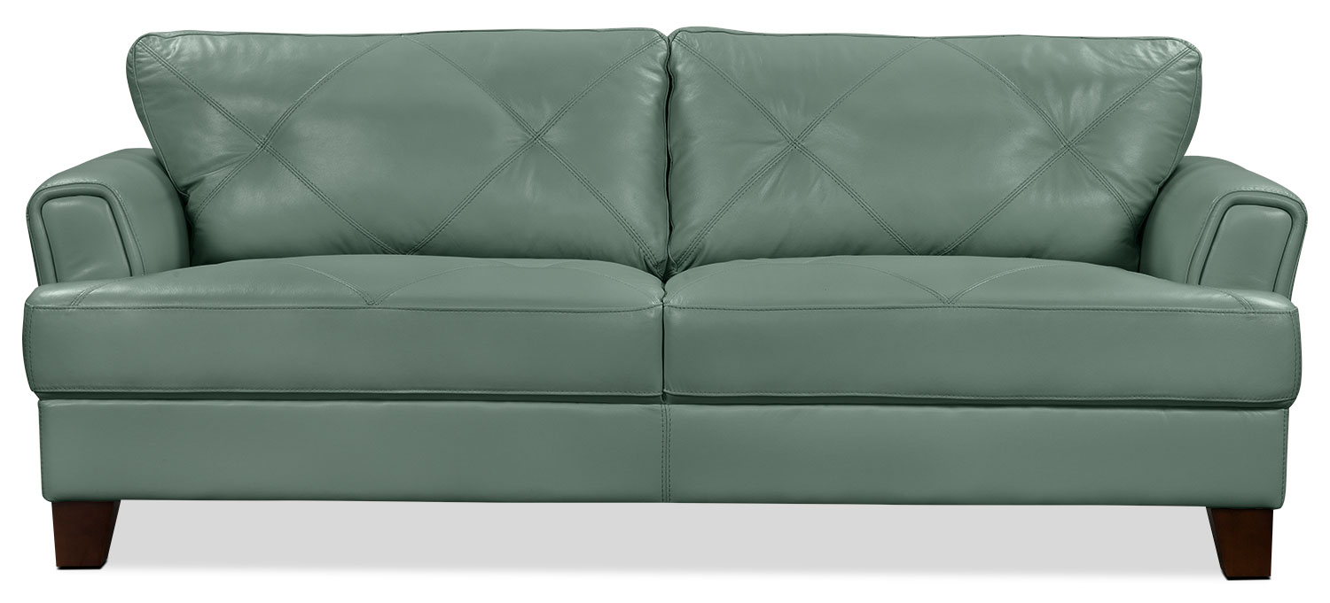 Vita 100% Genuine Leather Sofa – Sea Foam