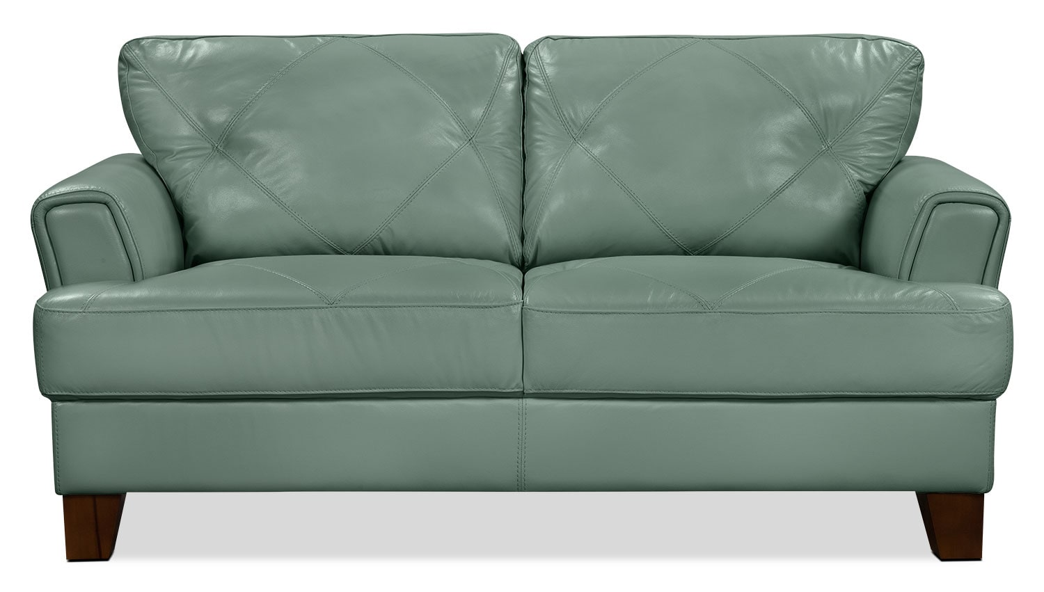 Living Room Furniture - Vita 100% Genuine Leather Loveseat – Sea Foam
