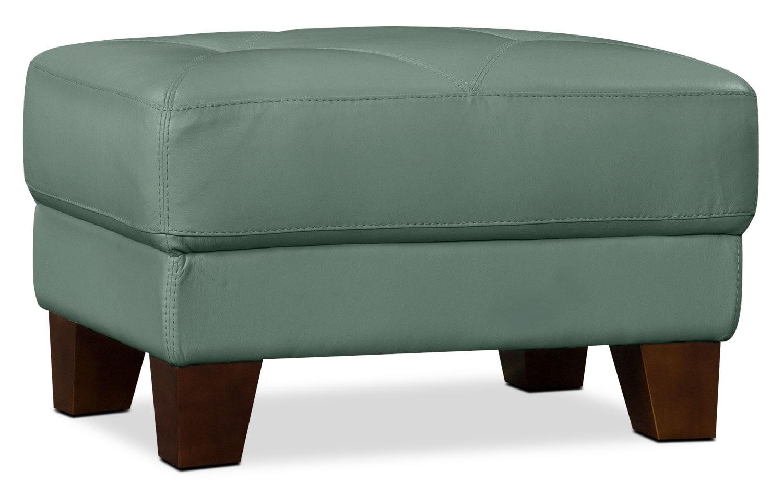 Living Room Furniture - Vita 100% Genuine Leather Ottoman – Sea Foam