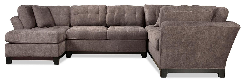 Living Room Furniture - Sarena 3-Piece Right-Facing Sectional - Charcoal