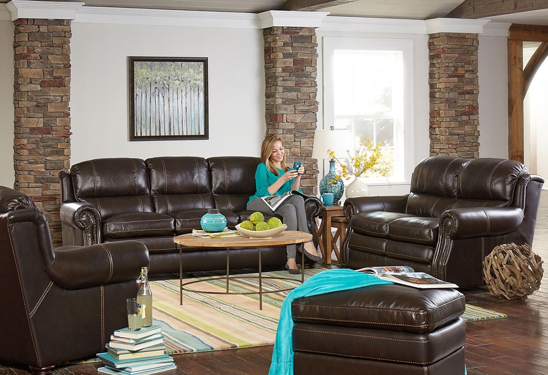 Taft loveseat brown levin furniture for Levin furniture living room sets
