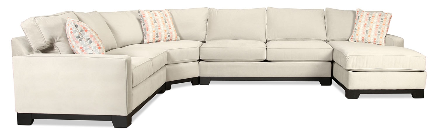 Marseille 4 piece right facing sectional dove levin for Levin furniture sectional sofa