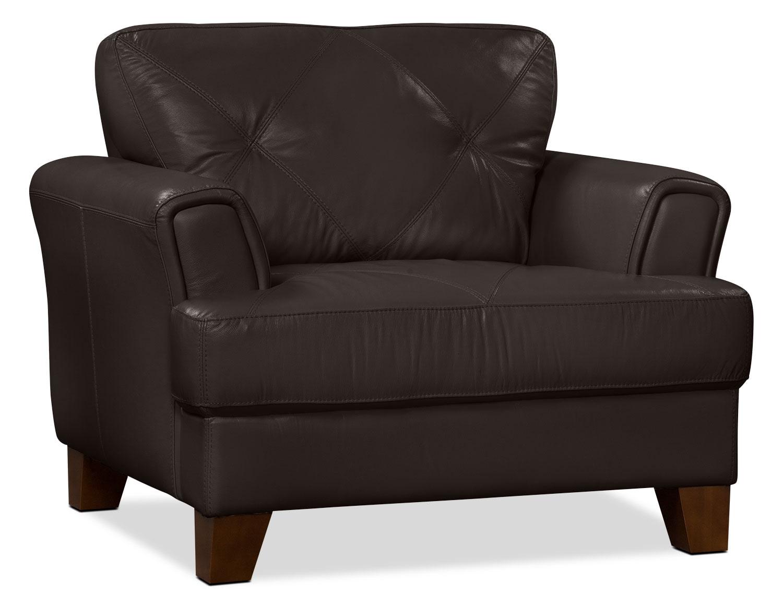 Living Room Furniture - Vita 100% Genuine Leather Chair – Chocolate