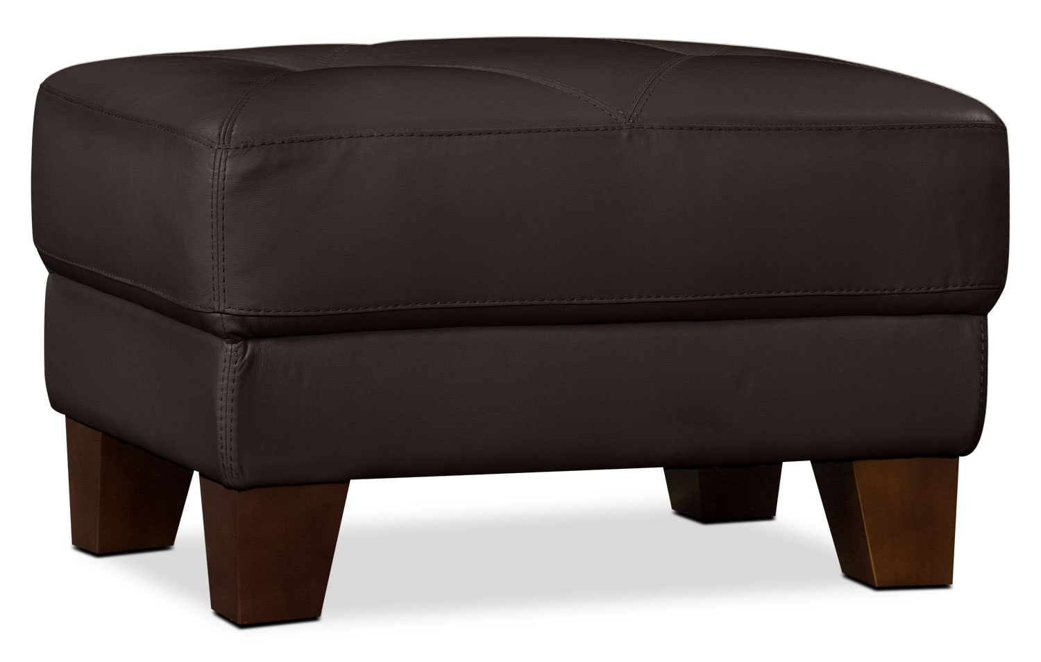 Living Room Furniture - Vita 100% Genuine Leather Ottoman – Chocolate