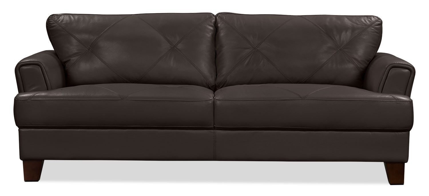Living Room Furniture - Vita 100% Genuine Leather Sofa – Chocolate