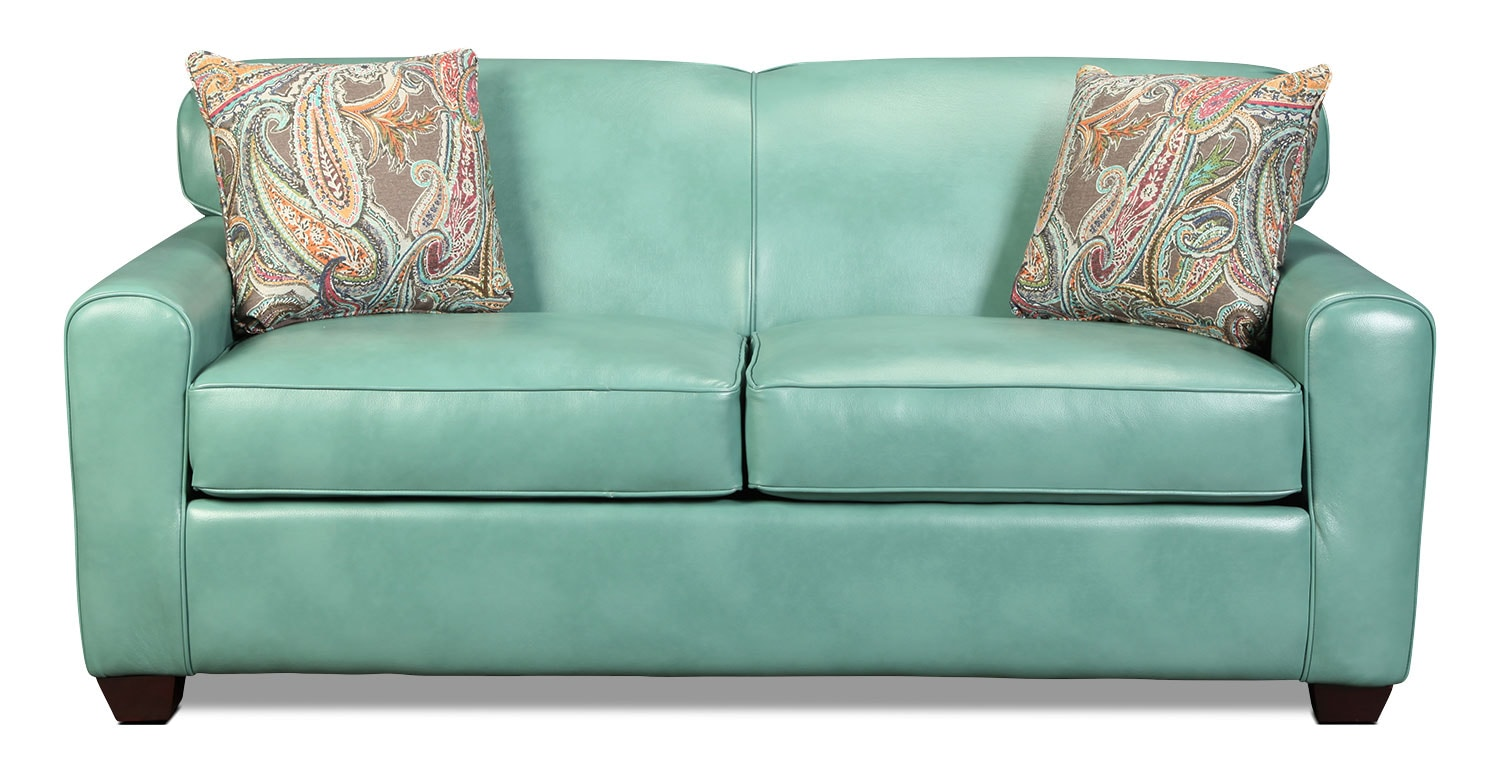 Top 28 aqua blue leather sofa teal blue leather sofa for Blue leather sofa
