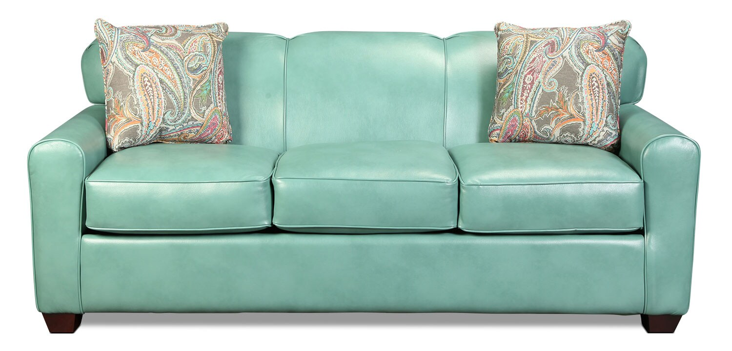 Linden Queen Sleeper Sofa - Aqua
