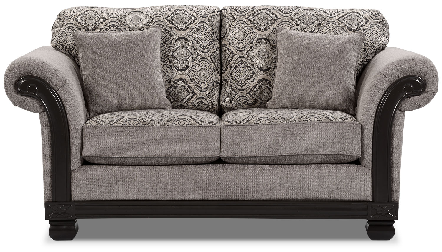 Living Room Furniture - Hazel Chenille Loveseat - Grey