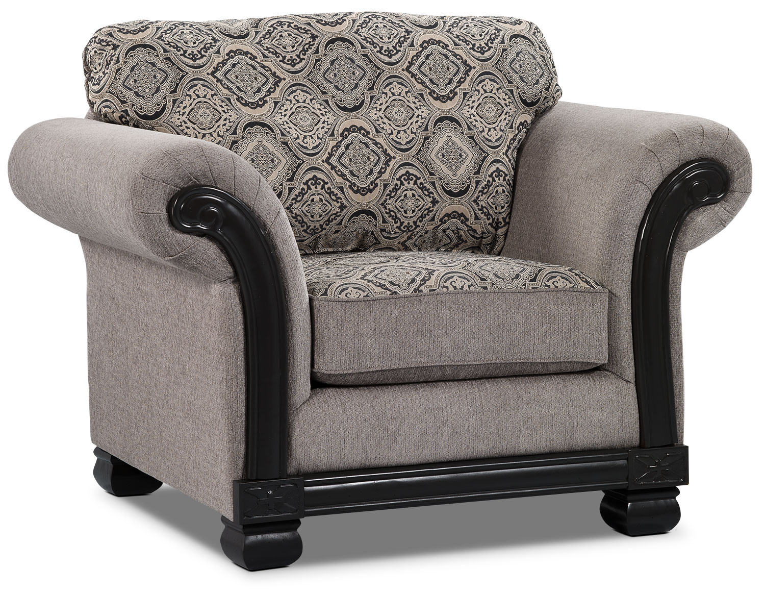Living Room Furniture - Hazel Chenille Chair - Grey