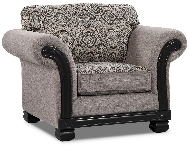 Living Room Furniture - Hazel Chenille Chair - Grey