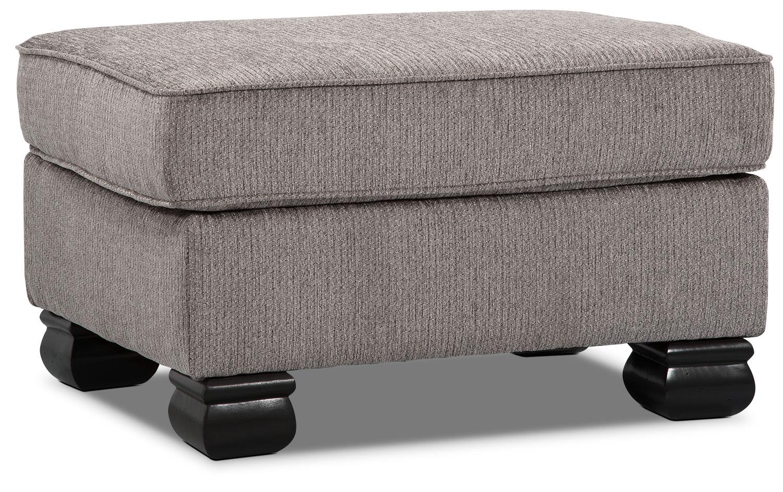 Living Room Furniture - Hazel Chenille Ottoman - Grey