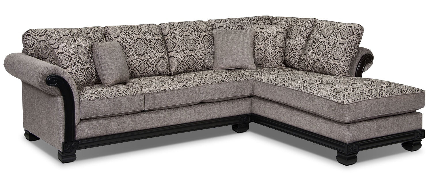 Living Room Furniture - Hazel 2-Piece Chenille Right-Facing Sectional - Grey
