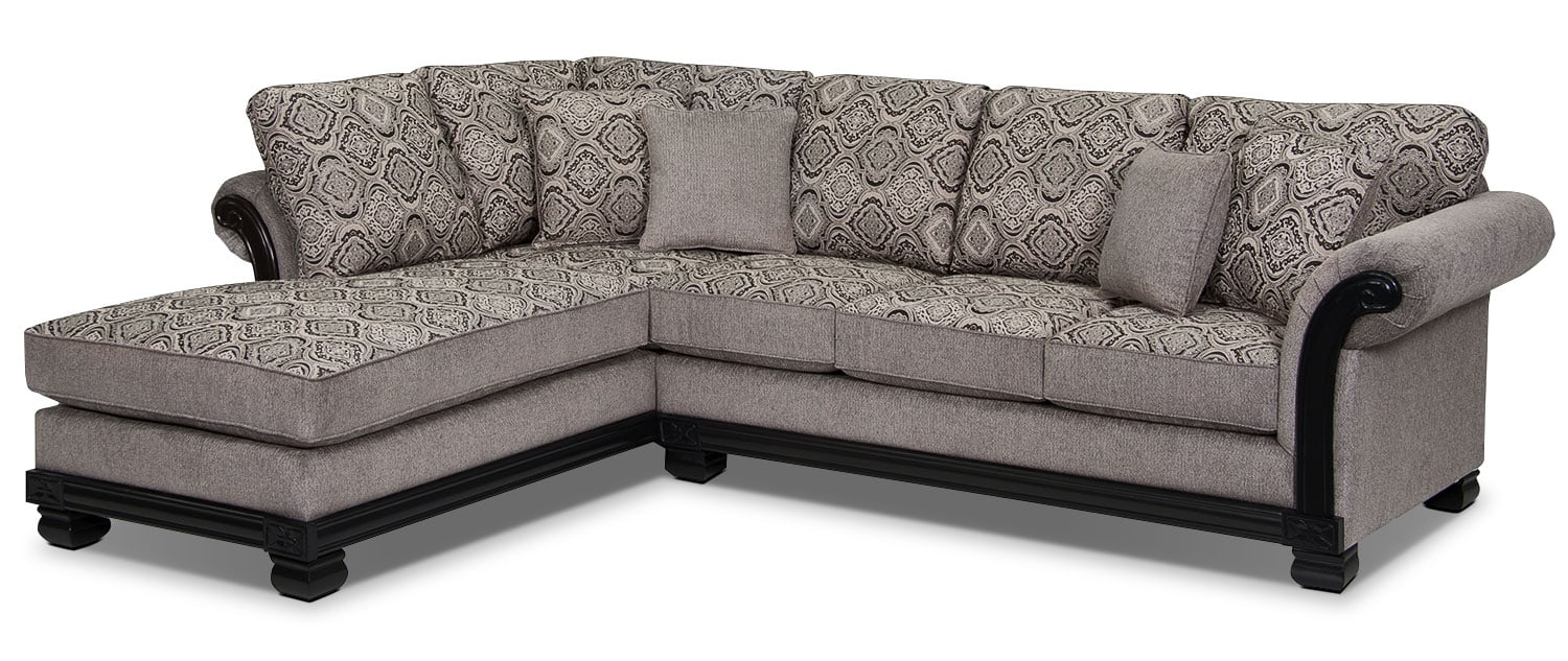 Living Room Furniture - Hazel 2-Piece Chenille Left-Facing Sectional - Grey