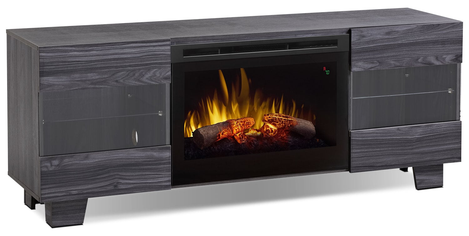 "Max 62"" TV Stand with Log Firebox – Carbon"