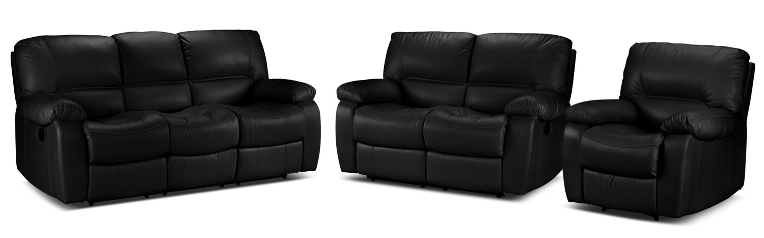 Piermont Reclining Sofa, Reclining Loveseat and Recliner Set - Black