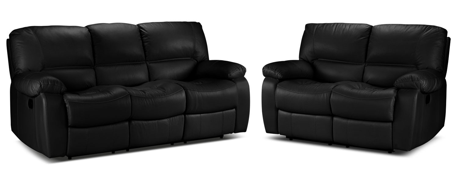 Piermont Reclining Sofa and Reclining Loveseat Set - Black