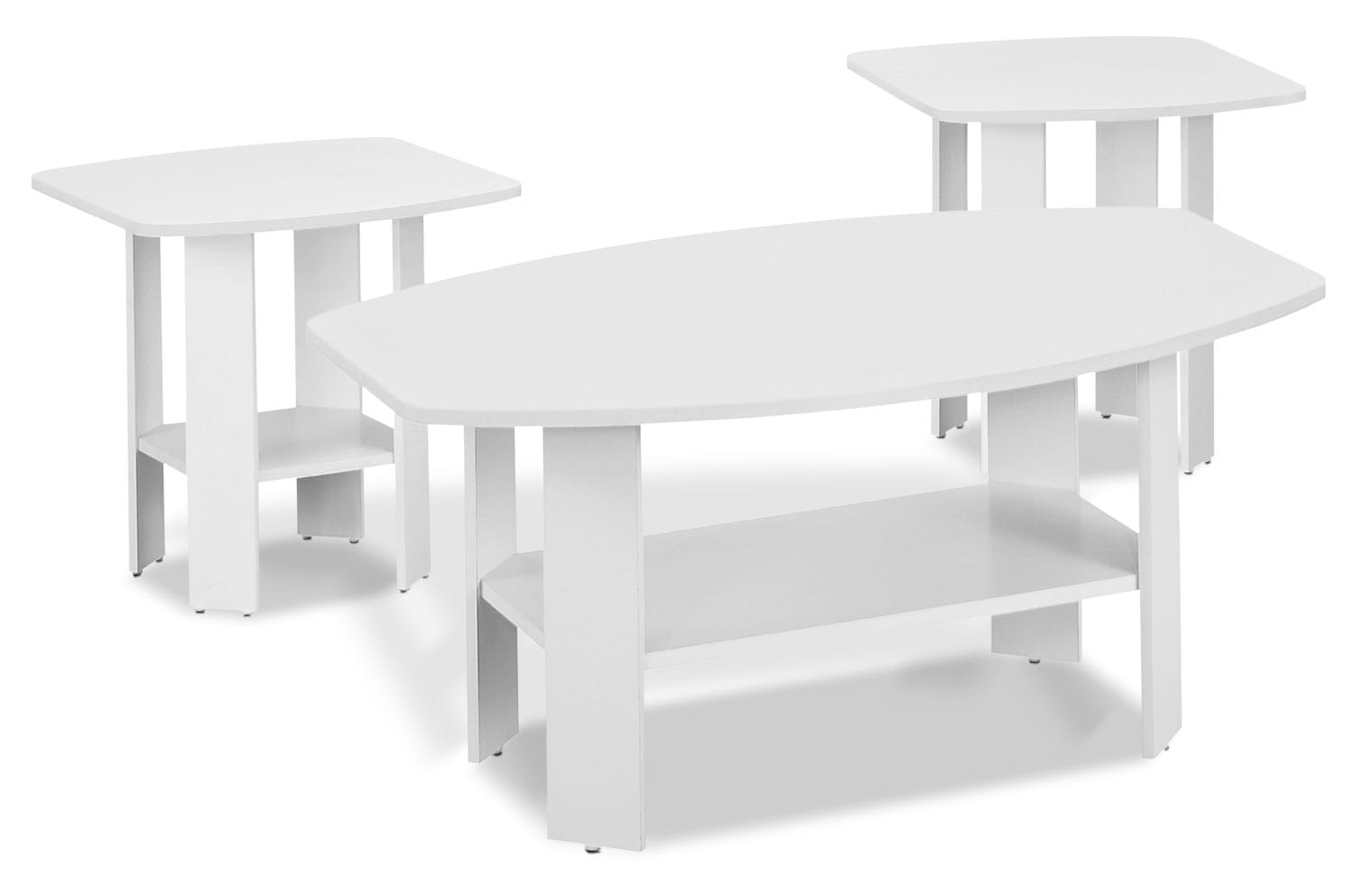 Accent and Occasional Furniture - Rosario 3-Piece Coffee and Two End Tables Package – White