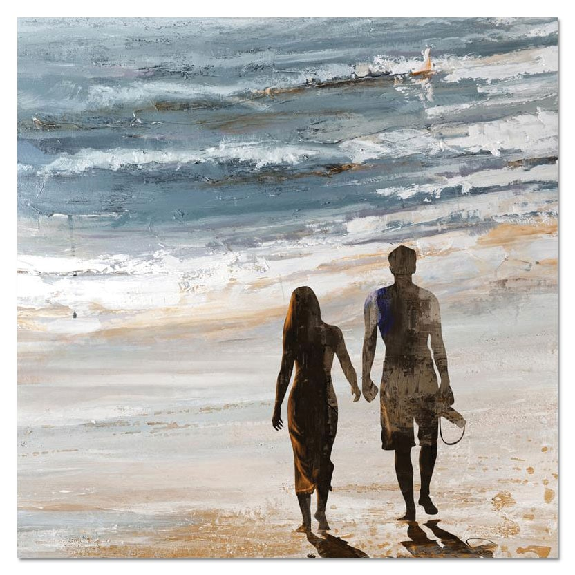 "Accent and Occasional Furniture - Walk on the Beach Canvas Art (40"" X 40"")"