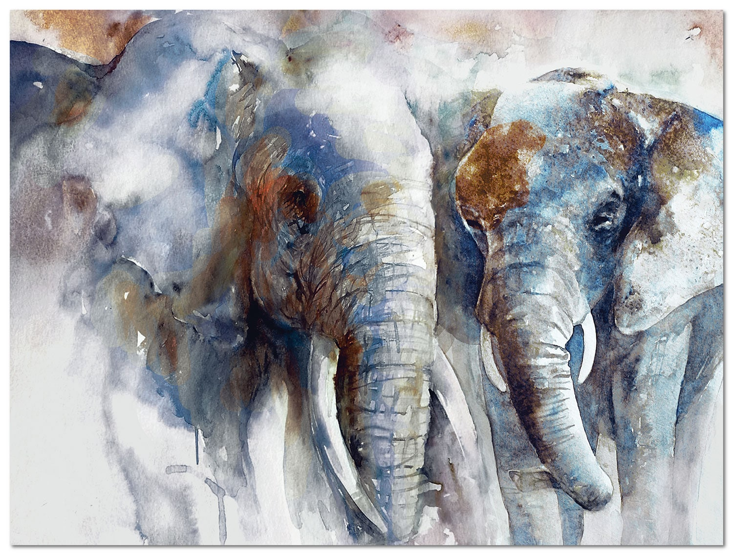 Accent and Occasional Furniture - Elephants Canvas Art