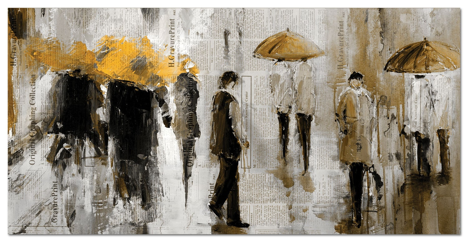 "Accent and Occasional Furniture - Walk In The Rain Canvas Art (60"" X 30"")"