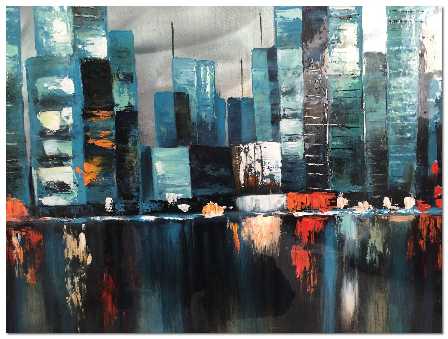 "Accent and Occasional Furniture - Blue City Canvas Art (48"" X 36"")"