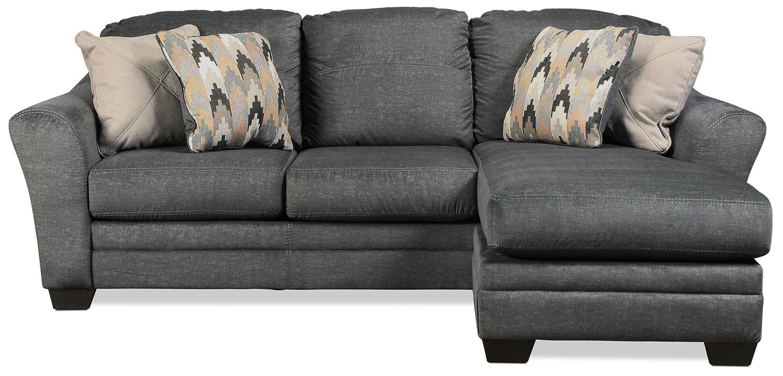 Living Room Furniture - Ferron Chaise Sofa - Charcoal