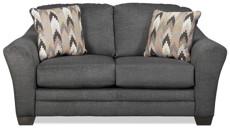 Living Room Furniture - Ferron Loveseat - Charcoal