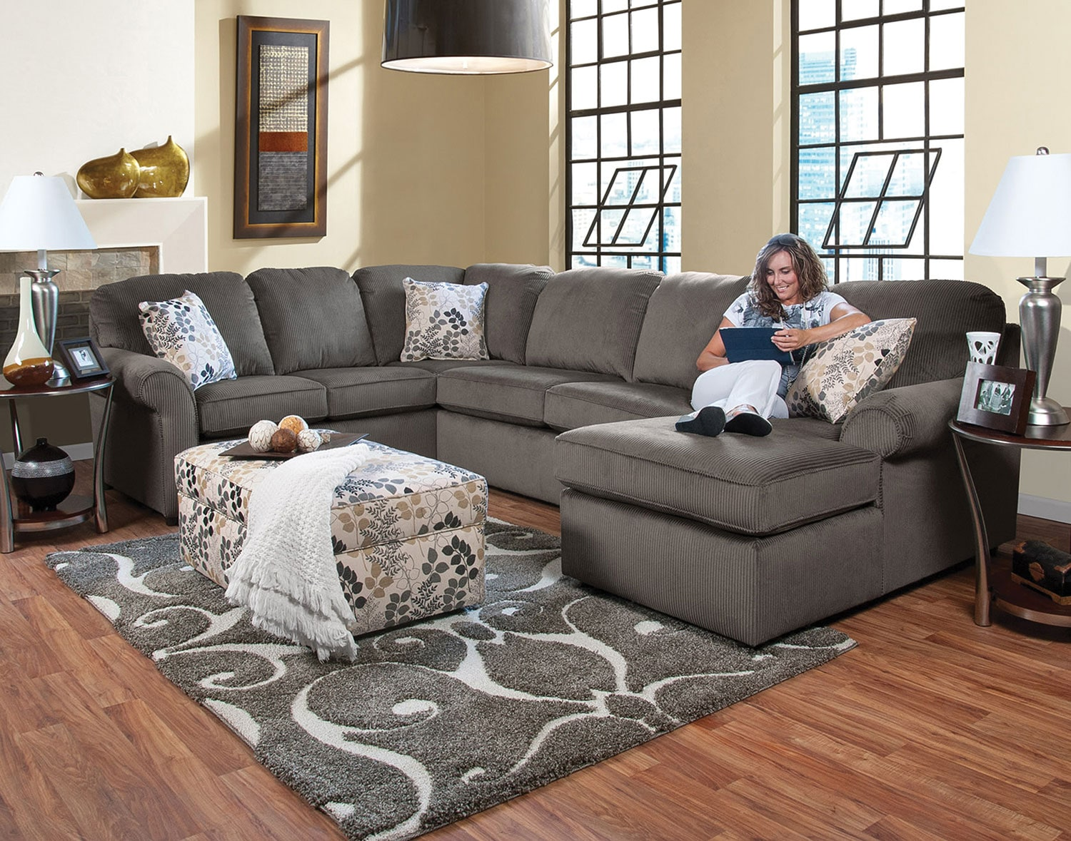 Walnut 3-Piece Right-Facing Sectional - Gray