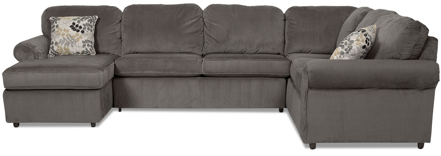 Walnut 3-Piece Left-Facing Sectional - Gray