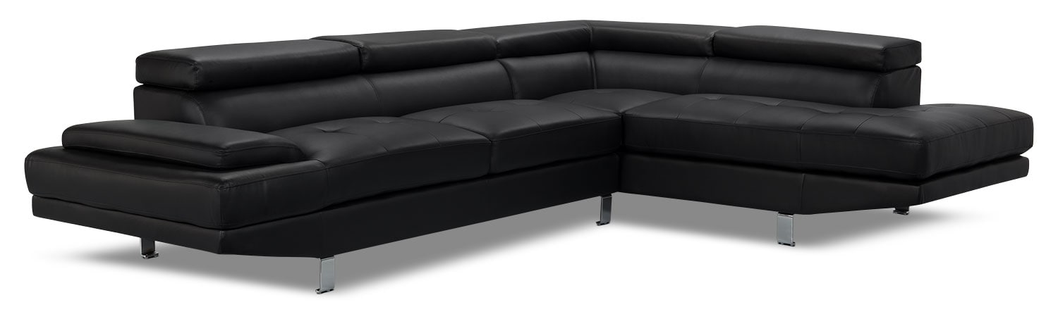 Zane 2-Piece Faux Leather Studio-Size Sectional with Right-Facing Chaise – Black