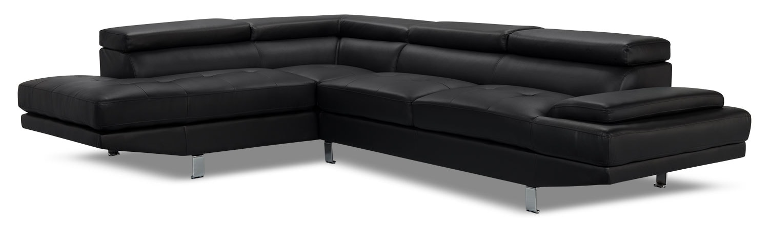 Living Room Furniture - Zane 2-Piece Faux Leather Studio-Size Sectional with Left-Facing Chaise – Black