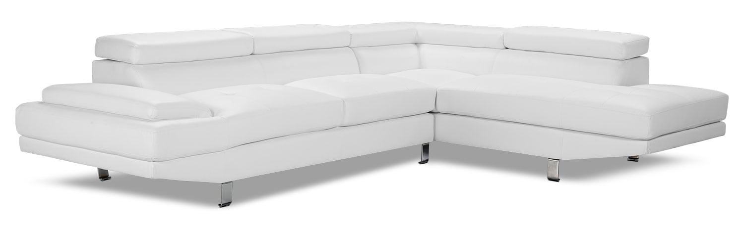 Living Room Furniture - Zane 2-Piece Faux Leather Studio-Size Sectional with Right-Facing Chaise – White